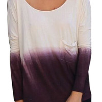 Purple Dip Dye Pocket Detail Backless Long Sleeve T-shirt
