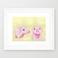 Baby Piglets Framed Art Print by haleyivers | Society6