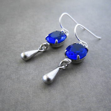 Dark Blue Earrings - Midnight Sapphire Vintage Glass Jewel - Silver Plated Brass