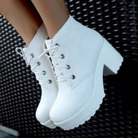 Punk style Solid color platform shoes Martin boots