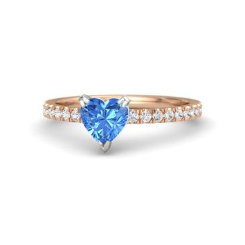 Heart Blue Topaz 14K Rose Gold Ring with White Sapphire