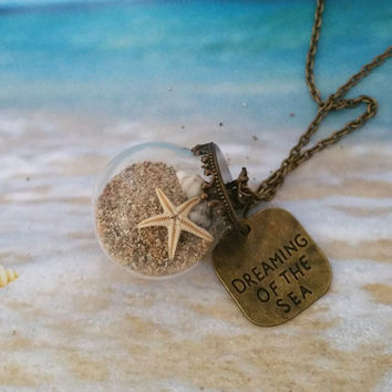 Miniature Dreaming of the Sea Necklace with Bronze chain, Beach Globe, Sand, Seashell, Starfish, Beach Vial Jewelry