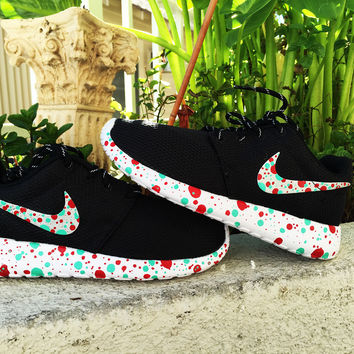 Womens Nike Roshe Run custom design, Red and Teal paint splatter design, splatter, dots