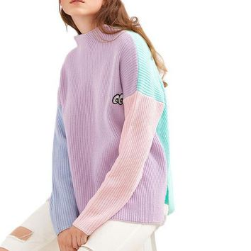 SheIn Women Sweaters and Pullovers Color Block Funnel Neck Eye Embroidered Stand Collar Long Sleeve Casual Loose Sweater