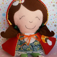 Little Red Riding Hood doll/ softie with removable and reversible hood / cape and removable shoes - MADE TO ORDER