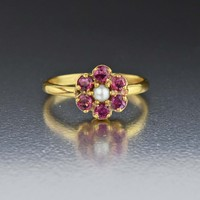 Vintage Pearl & Ruby Halo Ring 1900s