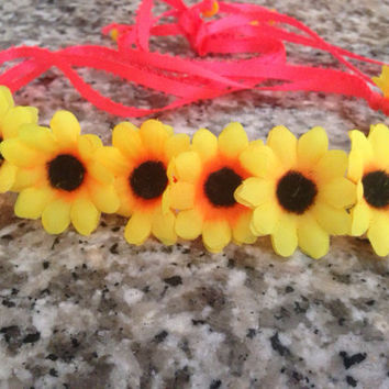 Two Toned Yellow and Orange Daises on a neon Pink Ribbon - Flower Crown, Flower Halo, EDC Flower Crown, Flower Headband