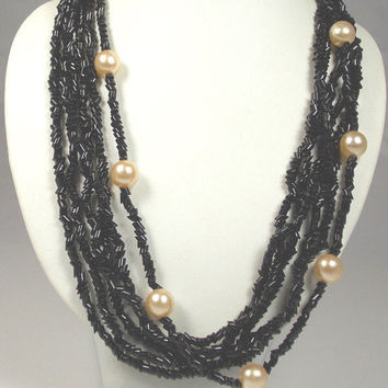 Vintage 6 Strand Black Glass Bead Faux Pearl Necklace