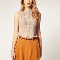 ASOS | ASOS Lace Bib Sleeveless Blouse at ASOS