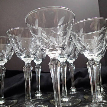 "Libbey WINDSWEPT Stemware Liquor Coctail glasses SET of 9 vintage mid century barware 5 5/8"" tall"
