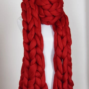 Chunky knitted Scarf Giant Infinity scarf Super chunky bulky scarf arm knitted scarf