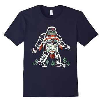 Tribal Bigfoot Shirt- Funny Cool Artwork Sasquatch Gift