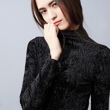 5bb299f5df92d Velour Ruffles T Shirt Women 2018 Autumn Winter New Hot Fashion