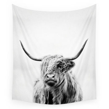 Society6 Portrait Of A Highland Cow Vertical Orie Wall Tapestry
