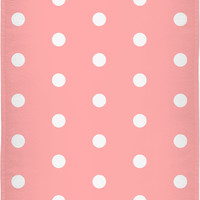 Retro style beach, bath towel, salmon pink and white polka dot pattern, vintage style