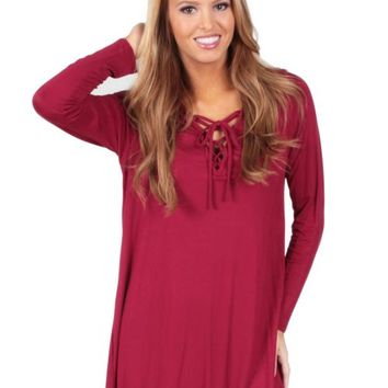 Kiss You Tonight Tunic in Crimson | Monday Dress Boutique
