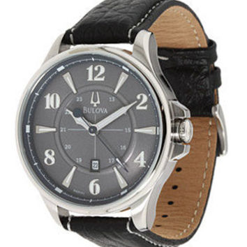 Bulova 96B151 Men's Gray Dial Black Leather Strap Quartz Watch