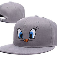 RHXING Looney Tunes Tweety Bird Face Logo Adjustable Snapback Embroidery Hats Caps - Grey