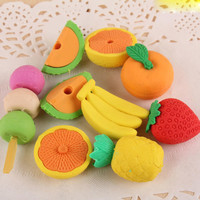 1 Pack Food Rubber Pencil Eraser Set Stationery Novelty Children Party Gift Cute