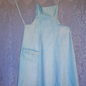 Vintage Bib Apron Blue & White Spot with pocket, panelled A-line style with fitted bib