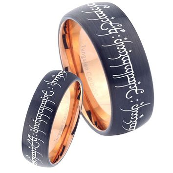 His Hers Lord of The Rings Dome Tungsten Rose Gold Mens Wedding Band Set