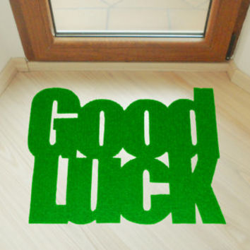 Floor mat Good luck. Custom home decor. Elegant welcome mat.