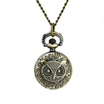 Owl Clock Necklace Pocket Watch Antique Style Pendant Jewelry