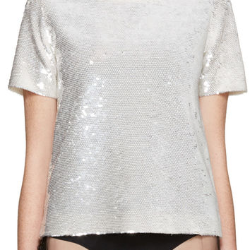SSENSE Exclusive Ivory Sequin T-Shirt