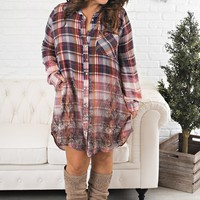 Curvy Lovely Lady Plaid Dress (Purple)