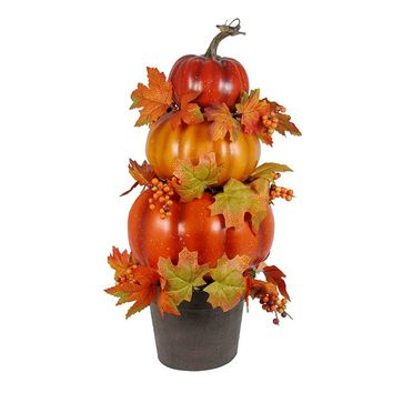 Potted Stacking Pumpkins Decor (Natural/Pumpkin)