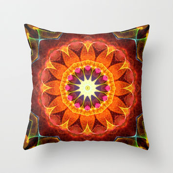 Mandala - Orange Sunflower Throw Pillow by Zandiepants