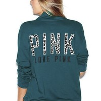Victoria's Secret Pink Half Zip Sweatshirt Hoodie Small Teal Blue Leopard