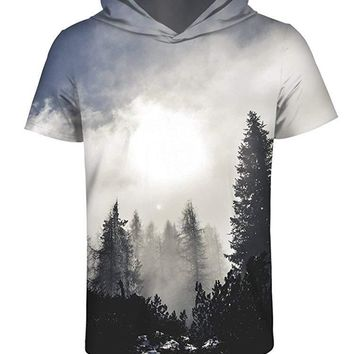 sanatty 3D Printed Pullover Sweatshirt Hoodie Short Sleeve Casual T Shirt Galaxy Space Creative Graphic Hooded Shirts