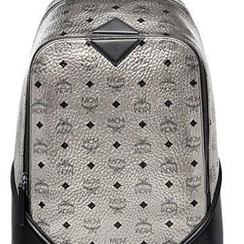 MCM Unisex Silver Duke Visetos Backpack Bag