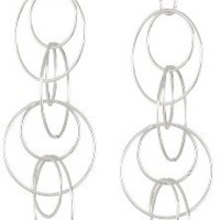 Sterling Silver Circle Link Drop Earrings, 2.16""
