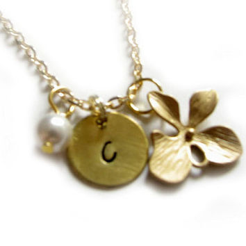 14K Gold Initial Necklace Personalized Hand Stamped Orchid Flower Charm Pendant Swarovski Pearl gift for wedding birthday