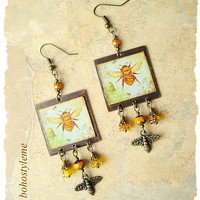 Boho Bee Earrings, Nature Inspired, Bohemian Jewelry, Honey BEE, Save The Bees, Multi Media, bohostyleme, Kaye Kraus