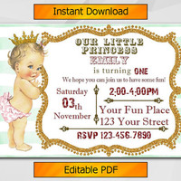 Editable 1st Birthday invitation, Vintage Baby, Antique Girl, turquoise stripe invite, Instant Download etsy invite C029-3