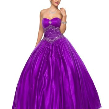 CLEARANCE - Purple Princess Ball Gown Sweetheart Bead Ruched Skirt Lace Up Back (Size S, M, L)