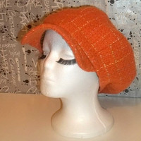 Orange Checked Newsboy Hat with Full Lining and Hem Ribbon // Thick Wool Blend // Winter Hat // Casket Hat