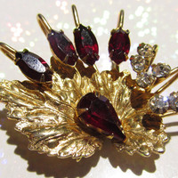 Scitarelli Brooch Vintage Jewelry 22kt Gold Leaf Deep Ruby clear Crystal Pendant1950s