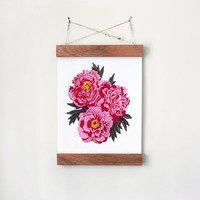 Pretty Peonies. Handmade Silk Screen Print, 14 x 17 Inches.