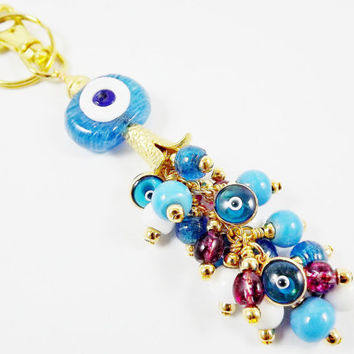 Limited Edition Artisan Lucky Protective Evil Eye or Bag Charm -  Translucent Blue - Beaded Tassel -Gold plated