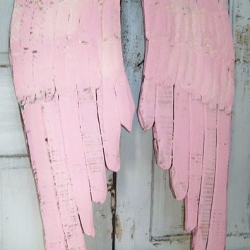 Large wooden wings pink cream distressed wall decor carved wood metal sculpture shabby chic Anita Spero