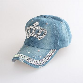 Womens Branded Baseball Cap Bone Trucker Hat 2017 Summer Ladies Rhinestone Diamond Snapback Dad Hat Hip Hop Female Caps