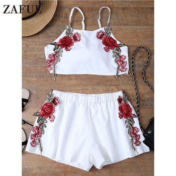 ICIKL3Z ZAFUL Summer Sexy Embroidered Womens Sets Two Piece 2017 White Chiffon Sleeveless Rose Applique Tie Back Cami Top With Shorts
