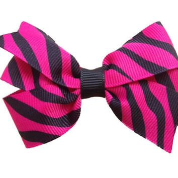 Ready to ship 20% OFF Pink zebra print hair bow - 3 inch animal print bow