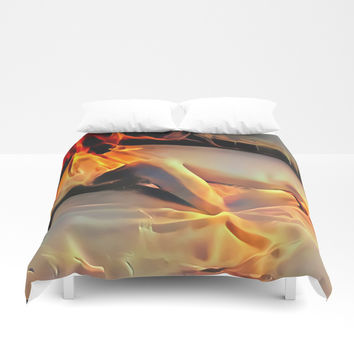 Flames in bedroom - erotic photography rework, sexy slave girl in submissive pose, BDSM cuffs on leg Duvet Cover by Casemiro Arts - Peter Reiss