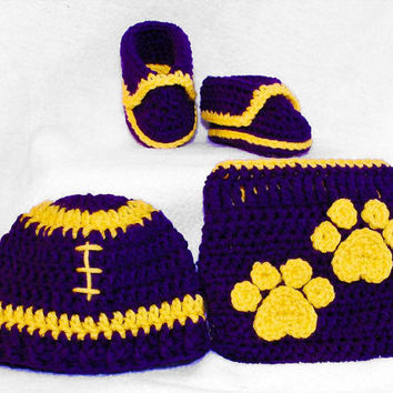 Crochet Lsu Football Hat shoes diaper cover by BitofWhimsyCrochet