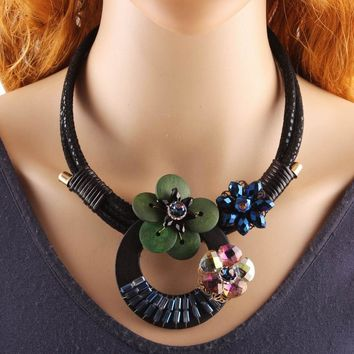 Black Rope Chain Chunky Wood Multi-Color Crystal Flower Pendant Bib Necklace